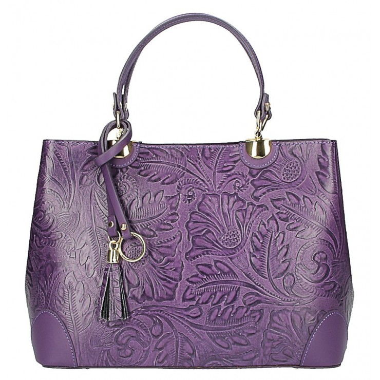 Genuine Leather Handbag 502 purple