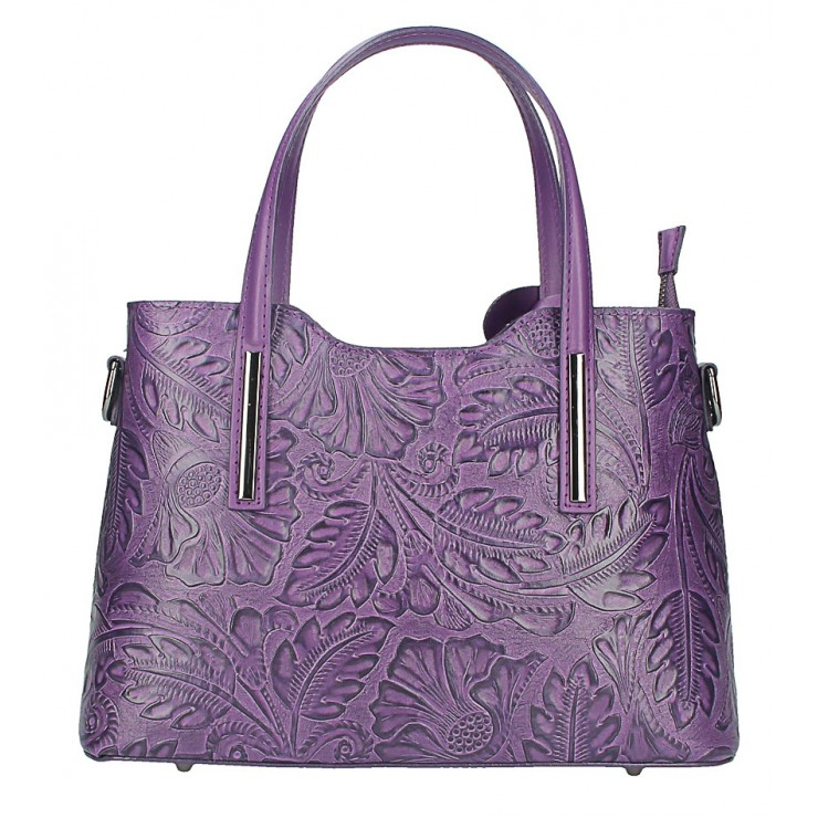 Genuine Leather Handbag1493 purple