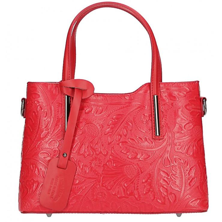 Kožená kabelka 1493 světle rudá