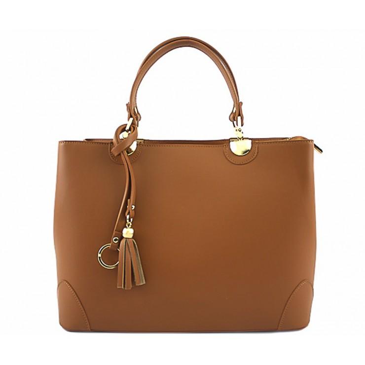 Genuine Leather Handbag 7 cognac