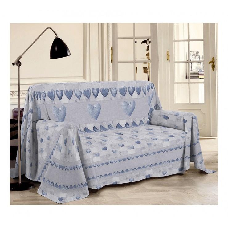 Prikrývka na gauč Patchwork azurovo modrá