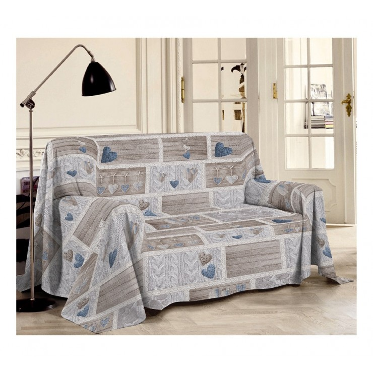 Prikrývka na gauč Shabby modrá