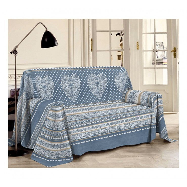 Blanket on the couch Tirol blue