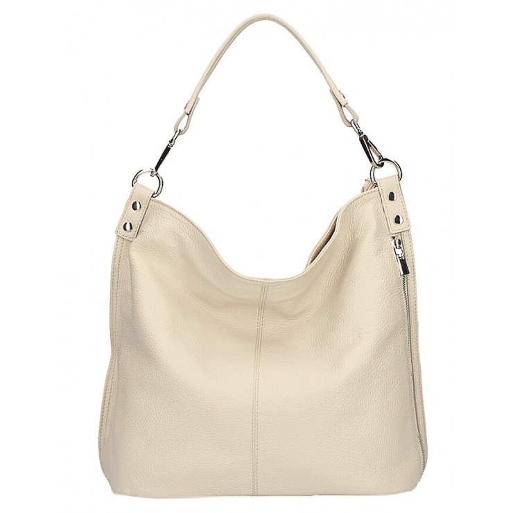 Leather shoulder bag 981 Made in Italy beige