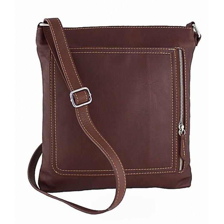 Pánska kožená taška na rameno 119 hnedá Made in Italy