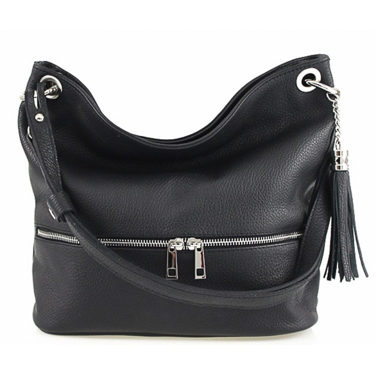 Leather shoulder bag MI143 black Made in Italy