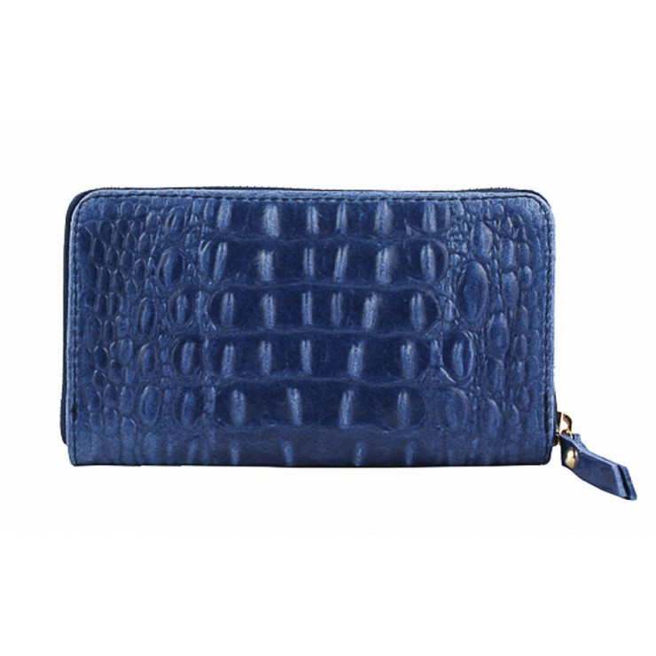 Woman genuine leather wallet 382 blue Made in Italy