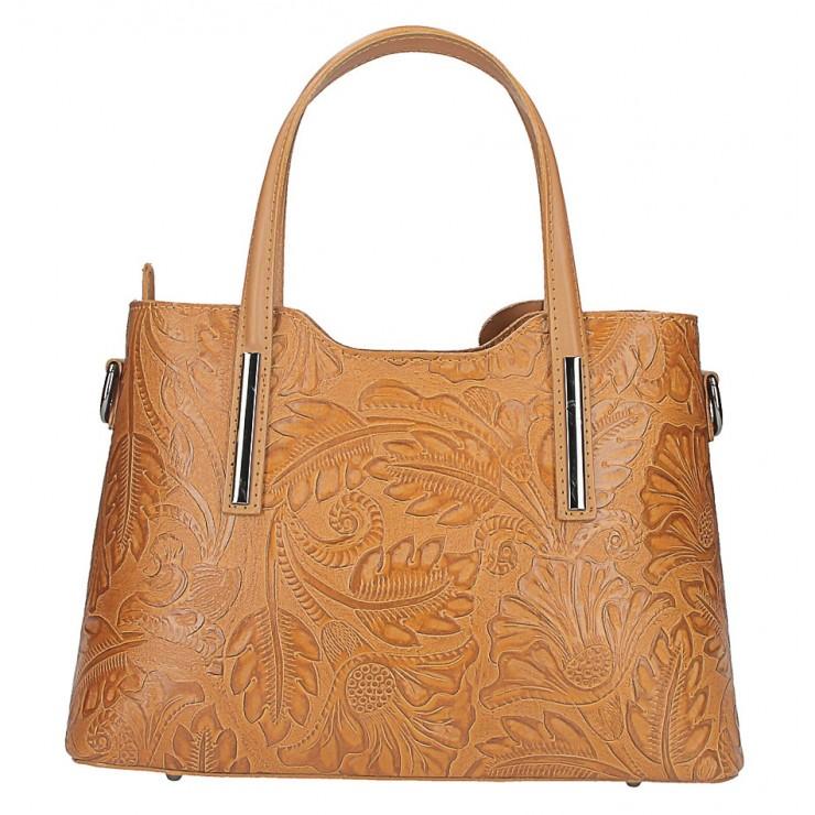 Genuine Leather Handbag 1493 cognac