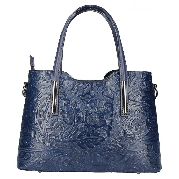 Genuine Leather Handbag 1493 dark blue