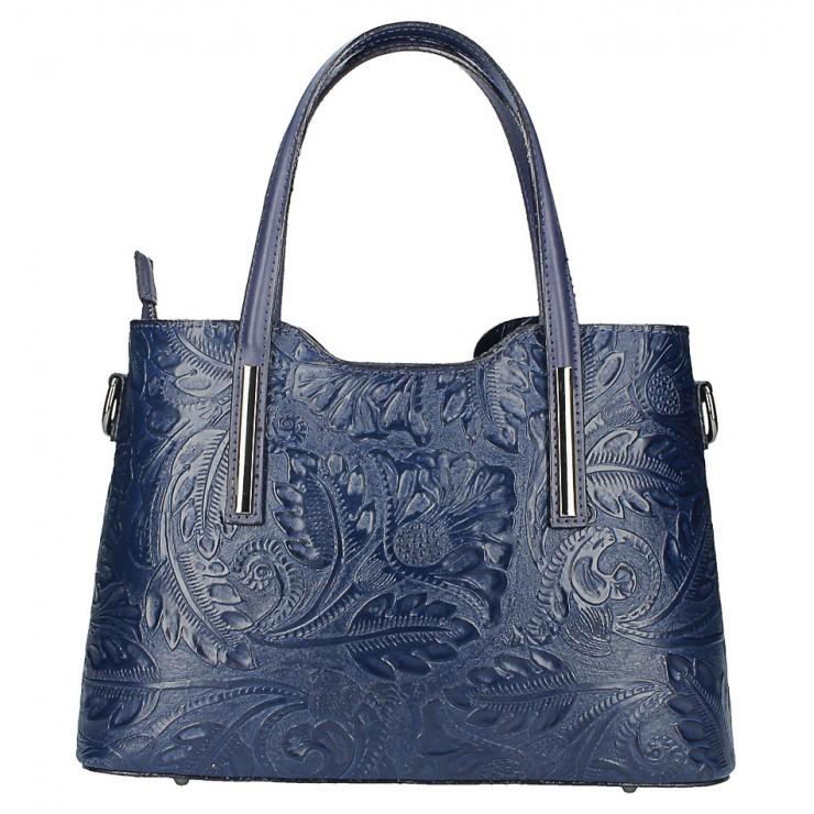 Tmavě modrá kožená kabelka 1493