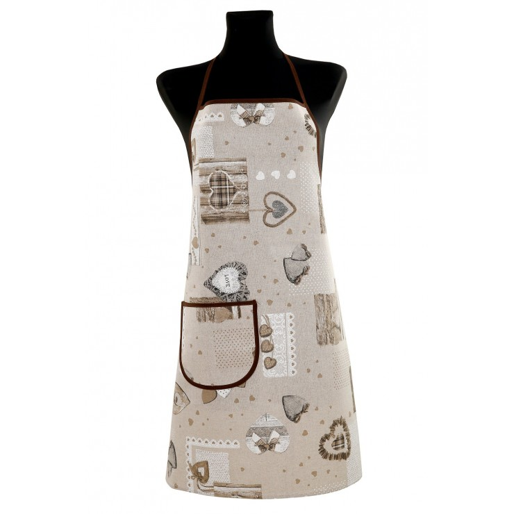 Kitchen apron 914 hearts beige Made in Italy