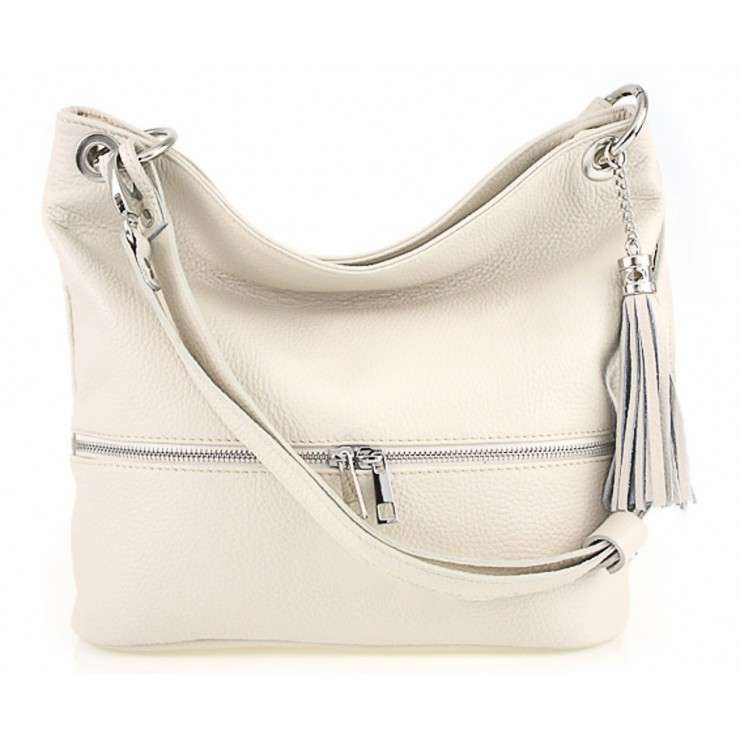 Leather shoulder bag MI143 beige Made in Italy