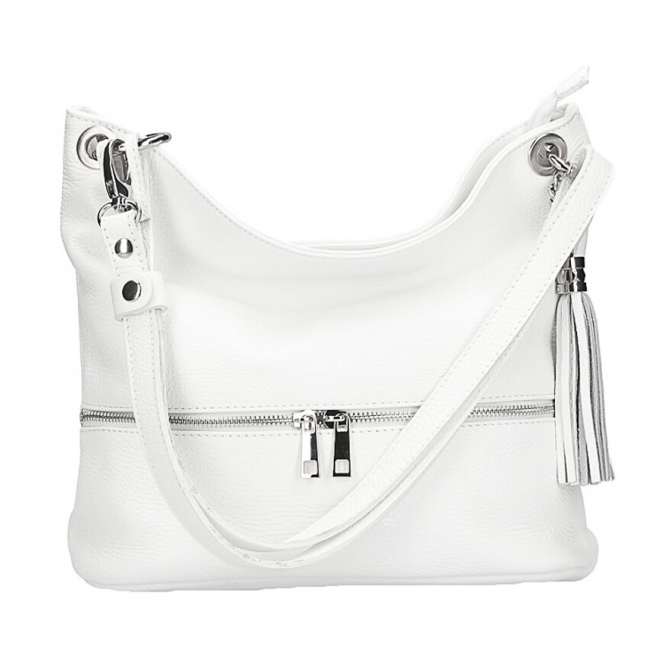 Leather shoulder bag MI143 white Made in Italy