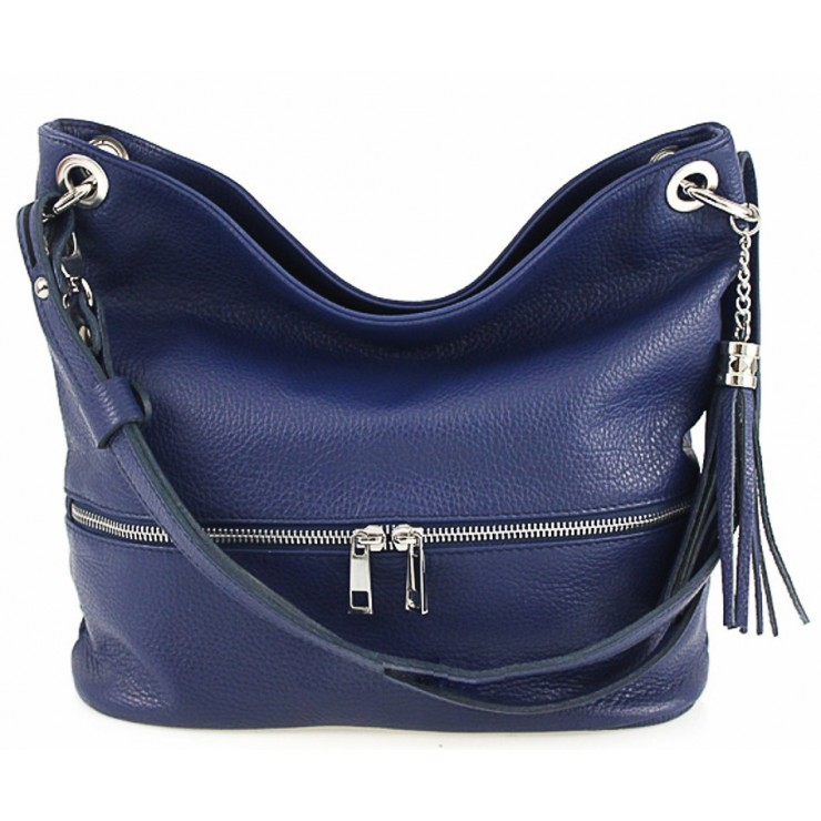 Leather shoulder bag MI143 blue Made in Italy