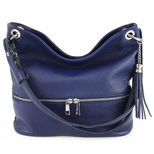 Kožená kabelka na rameno MI143 modrá Made in Italy