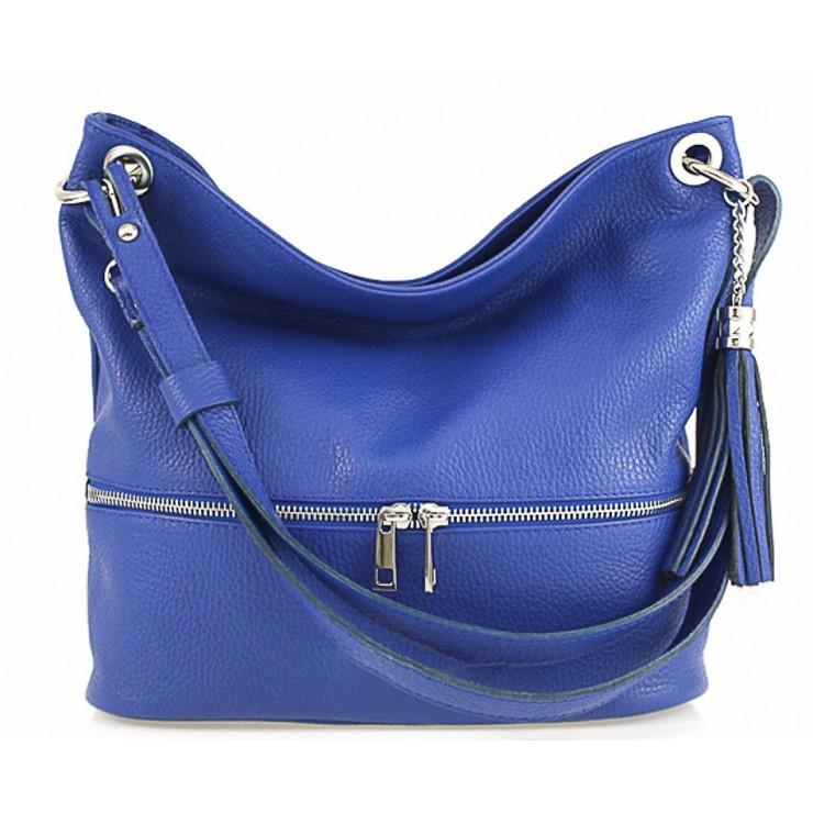 Kožená kabelka na rameno MI143 azurově modrá Made in Italy