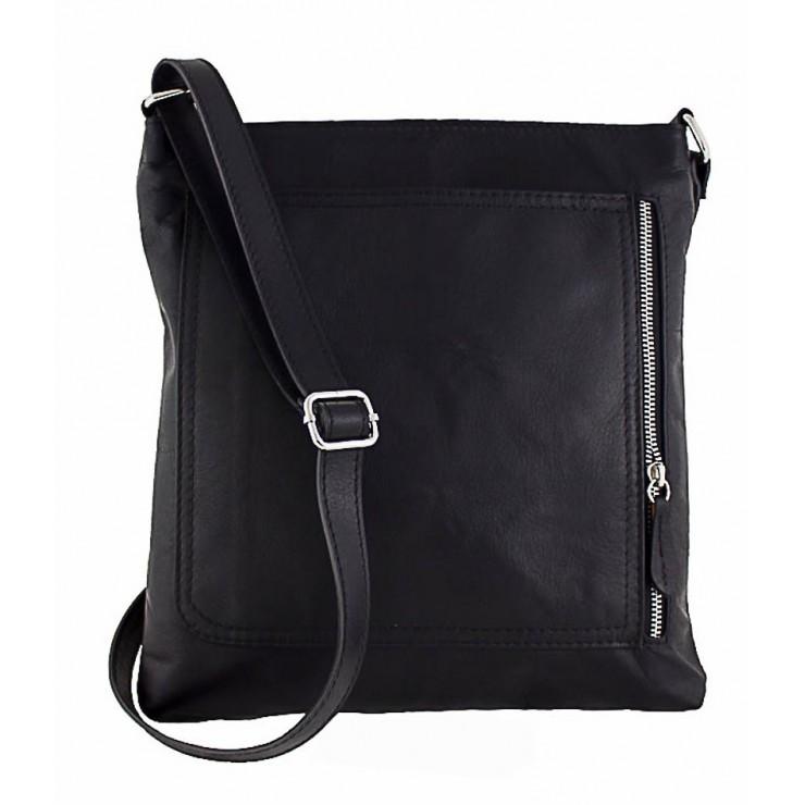 Pánska kožená taška na rameno 119 čierna Made in Italy