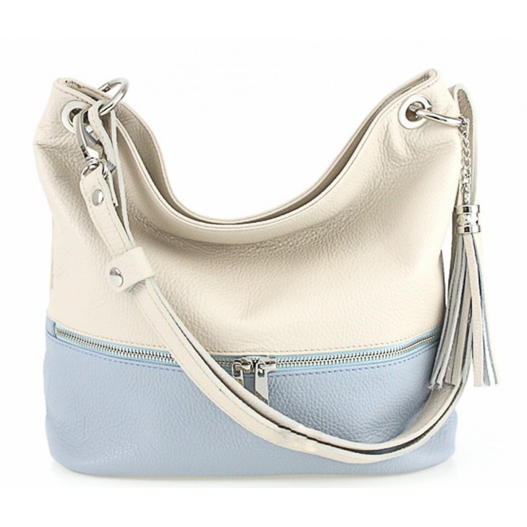 Leather shoulder bag MI143 beige+light blue Made in Italy