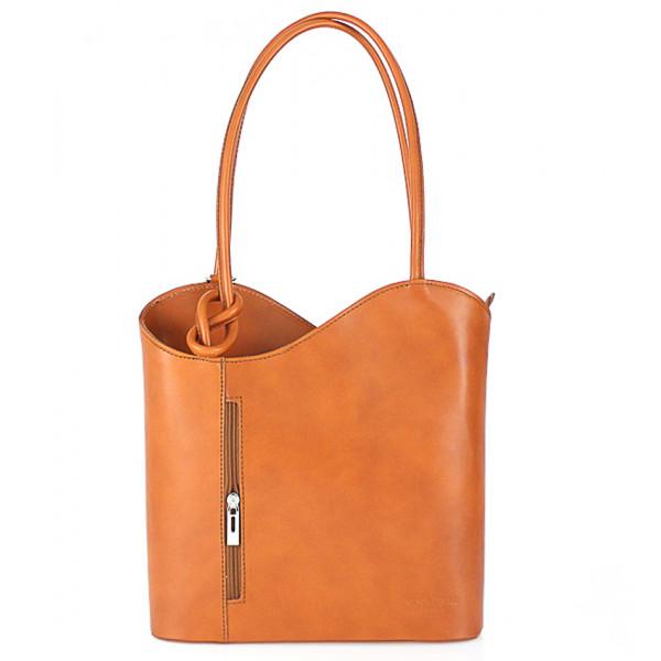 Kožená kabelka na rameno/batoh 113 koňak