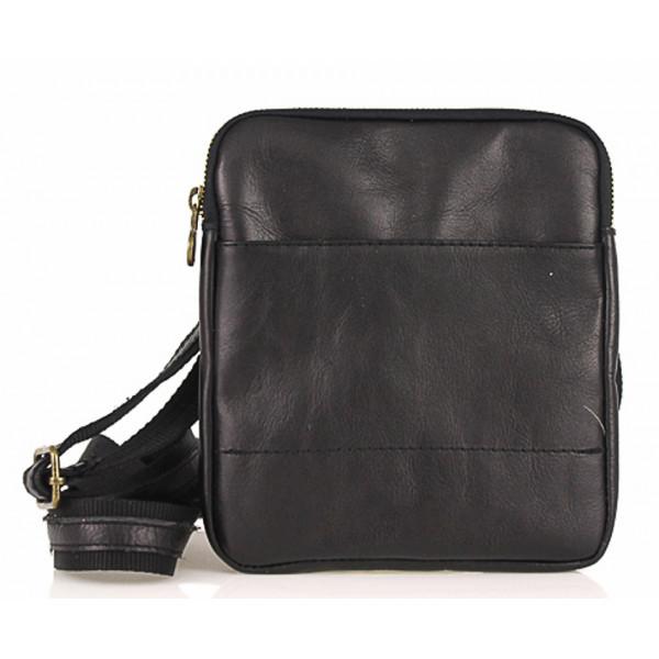 Pánska kožená taška na rameno 383 čierna Made in Italy Čierna