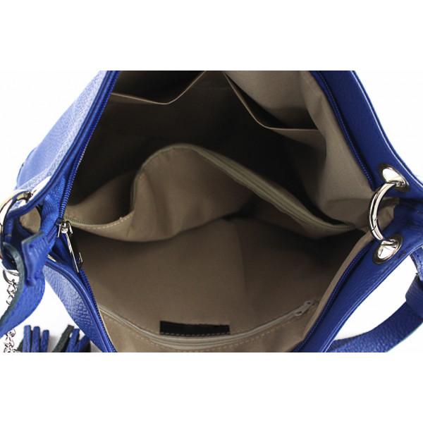 Kožená kabelka na rameno MI143 koňaková Made in Italy