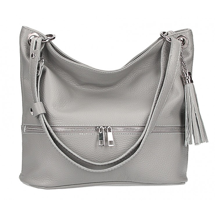 Leather shoulder bag MI143 gray Made in Italy