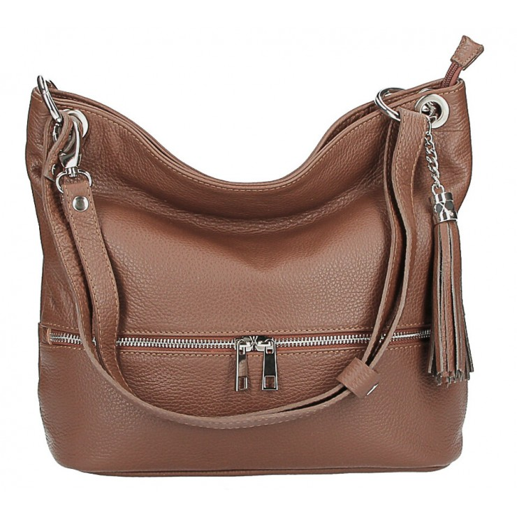 Leather shoulder bag MI143 brown Made in Italy