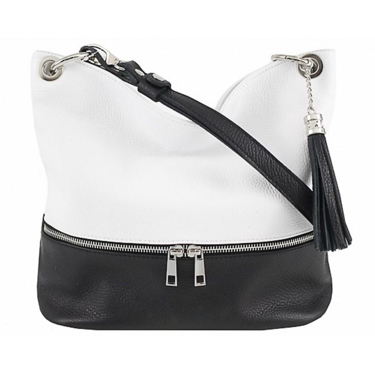 Kožená kabelka na rameno MI143 čierna+biela Made in Italy