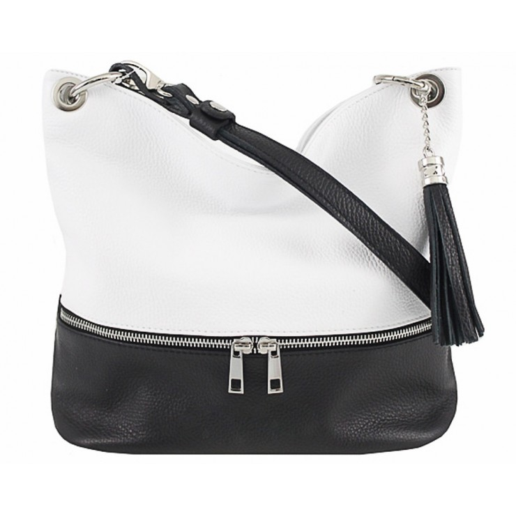 Leather shoulder bag MI143 blcak+white Made in Italy