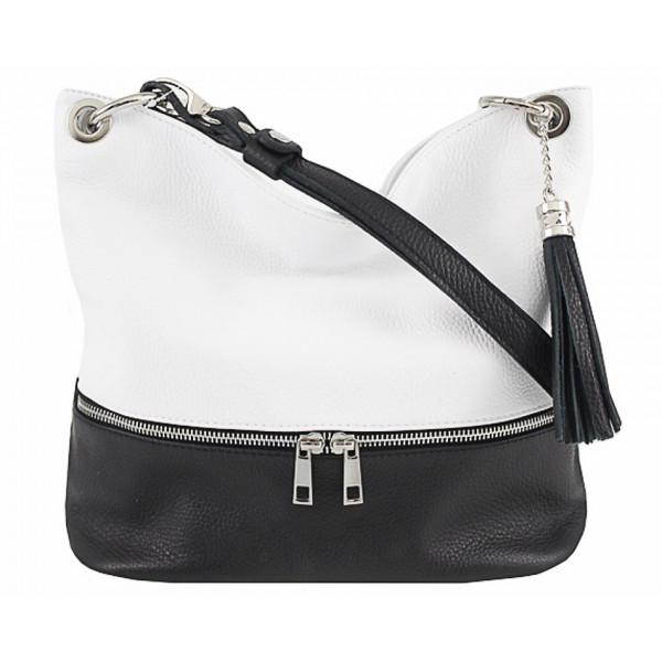 Kožená kabelka na rameno MI143 čierna+biela Made in Italy Biela