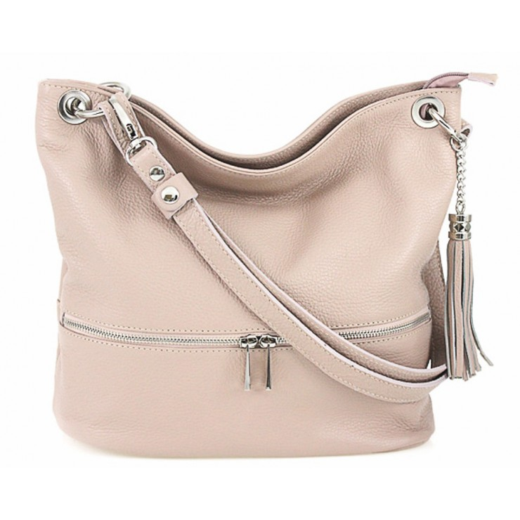 Leather shoulder bag MI143 pink Made in Italy
