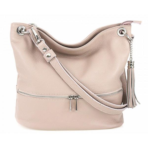 Kožená kabelka na rameno MI143 ružová Made in Italy