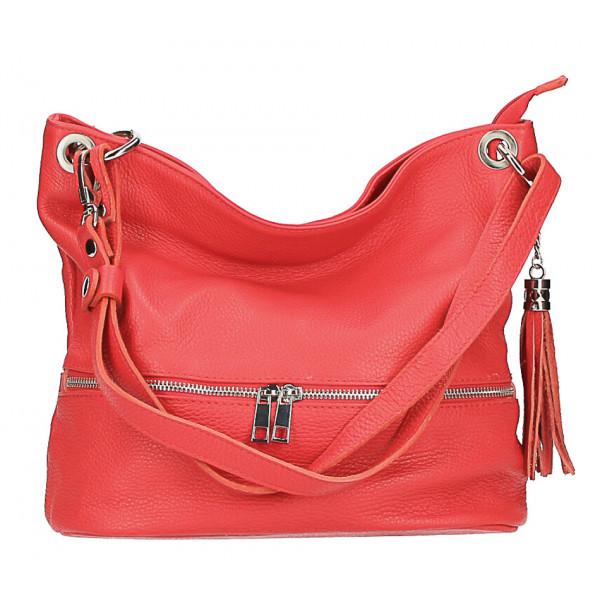 Kožená kabelka na rameno MI143 červená Made in Italy
