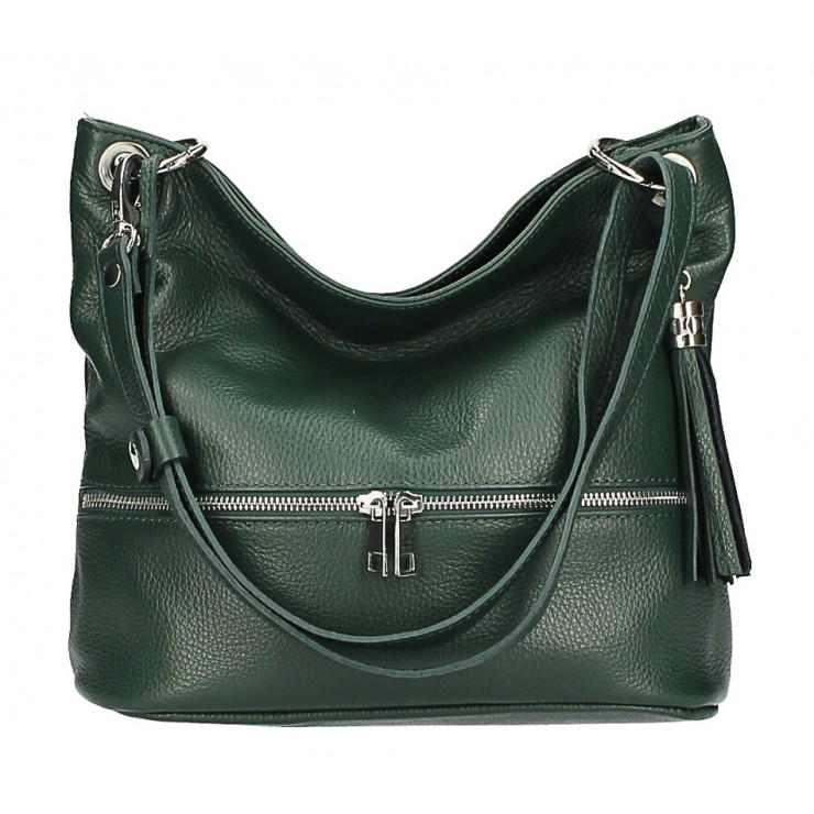 Leather shoulder bag MI143 dark green Made in Italy