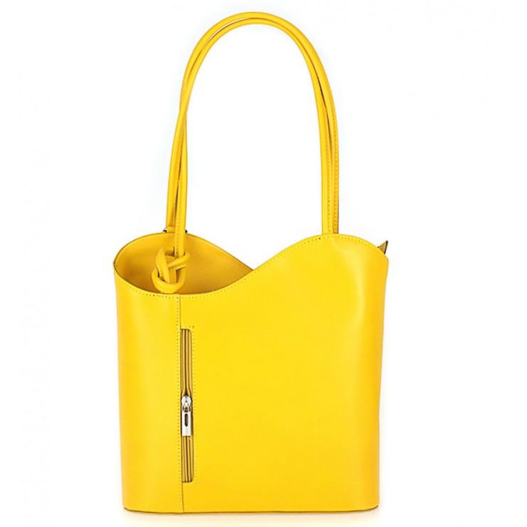 Kožená kabelka na rameno/batoh 113 žltá