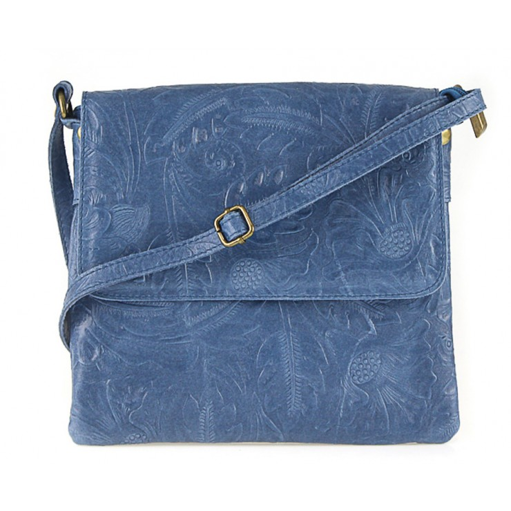 Genuine Leather shoulder bag 656 jeans Made in Italy