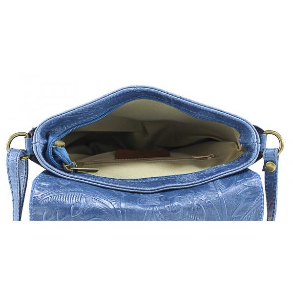 Kožená kabelka na rameno 656 tmavomodrá Made in Italy