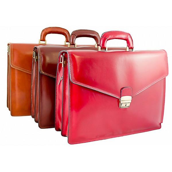 Pánska kožená aktovka 1202 červená Made in Italy Červená