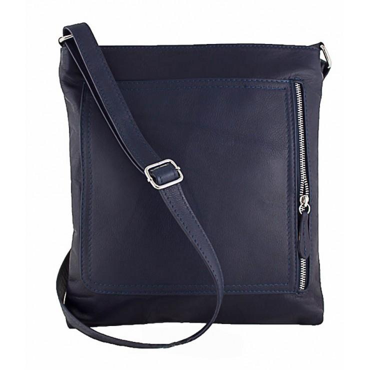 Pánská kožená taška na rameno 119 modrá Made in Italy