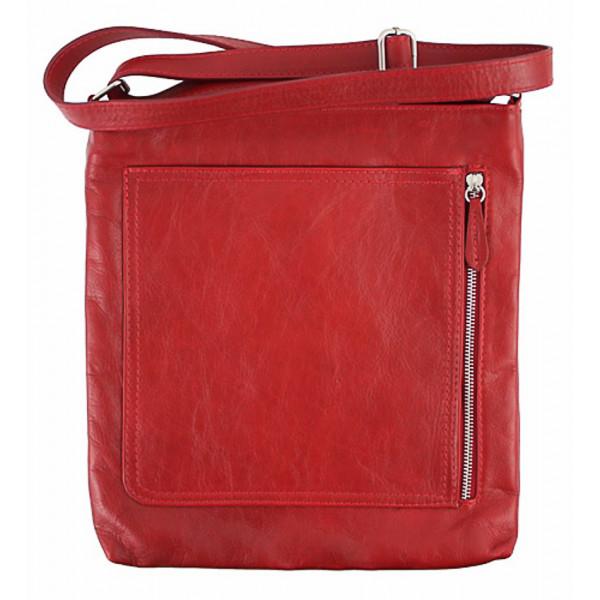Pánska kožená taška na rameno 119 červená Made in Italy Červená