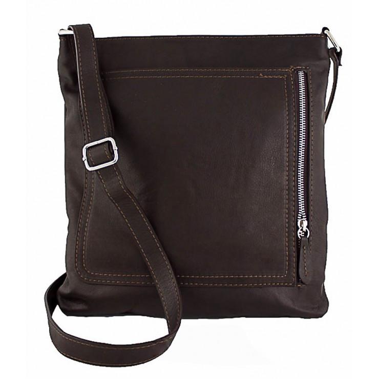 Pánská kožená taška na rameno 119 tmavohnedá Made in Italy
