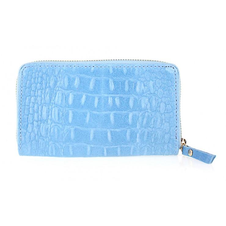 Kožená peněženka 382 nebesky modrá Made in Italy
