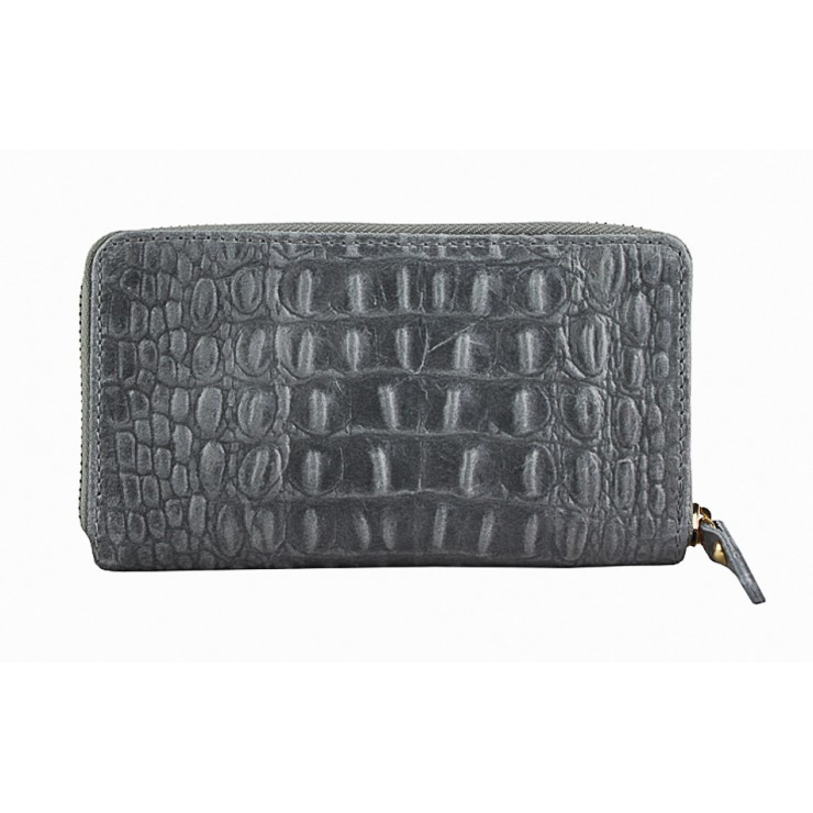 Woman genuine leather wallet 382 dark gray Made in Italy
