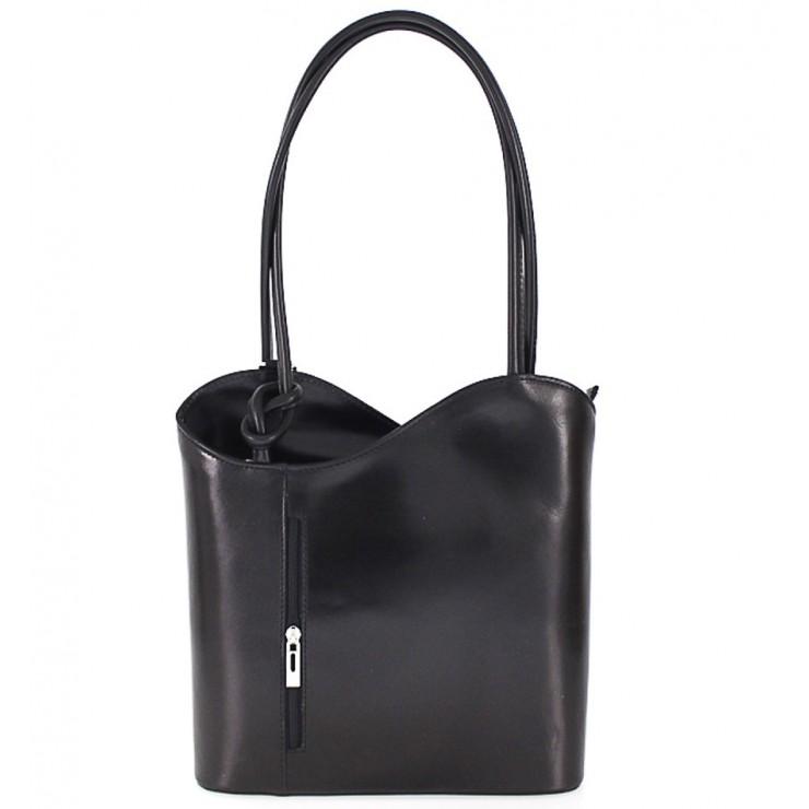 Kožená kabelka na rameno/batoh 113 čierna Made in Italy