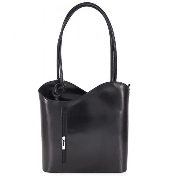 Kožená kabelka na rameno/batoh 113 čierna