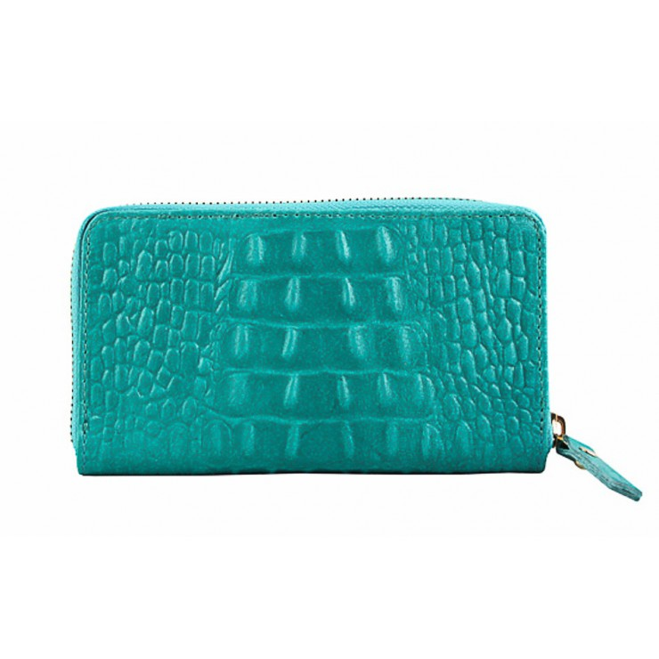 Woman genuine leather wallet 382 turquoise Made in Italy