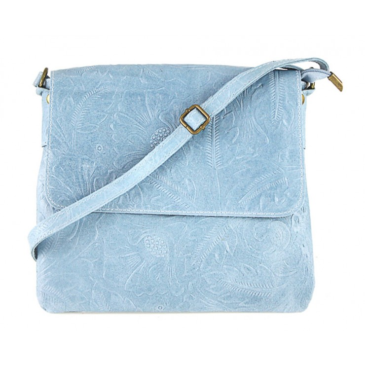 Genuine Leather Shoulder Bag 656 light blue