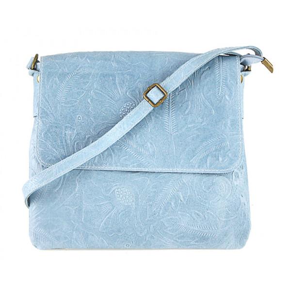 Nebesky modrá kožená kabelka na rameno 656