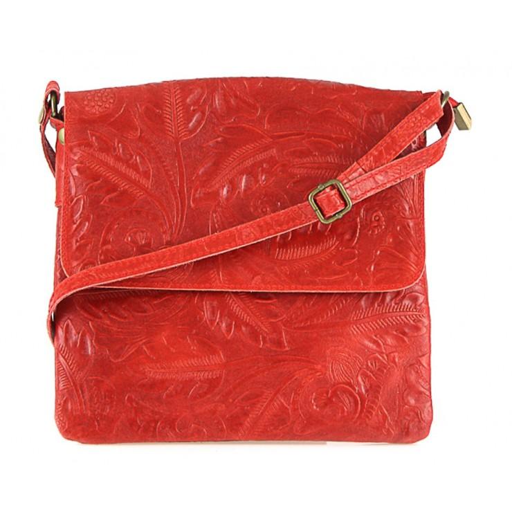Červená kožená kabelka na rameno 656 MADE IN ITALY