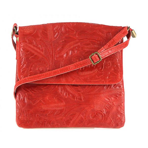 Červená kožená kabelka na rameno 656